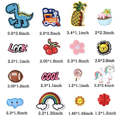 TACVEL 60PCS Random Assorted Styles Embroidered Patches, Sew on/Iron on Patches, Applique for Clothes Dress Pants Hats Jeans, Sewing Flowers Applique DIY Accessory