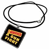 3dRose Dooni Designs Survive Sayings - I Survived A Gun Fight Survial Pride And Humor Design - Necklace With Rectangle Pendant (ncl_117611_1)