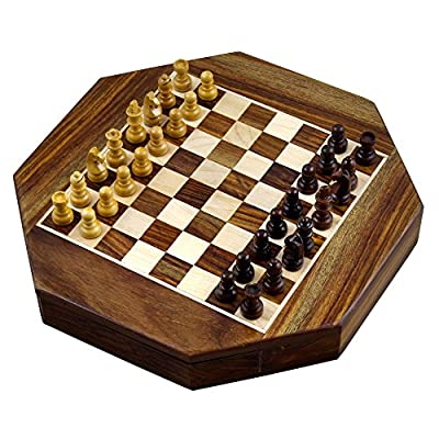 Christmas Gifts Magnetic Octangle Shape Chess Pieces Set and Wooden Board Travel Games with Storage 9 Inches