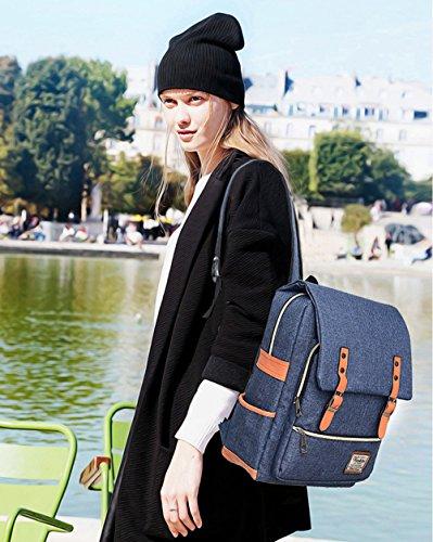 Unisex Professional Slim Business Laptop Backpack, Feskin Fashion Casual Durable Travel Rucksack Daypack (Waterproof Dustproof) with Tear Resistant Design for Macbook, Tablet - Blue by Feskin (Image #3)