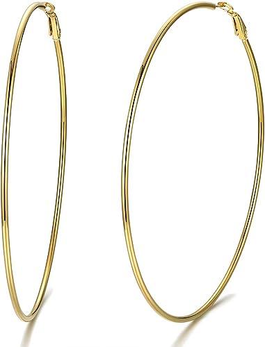 10KT Or Jaune Poli Créoles Cœur Ouvert Hoop Design Style Boucles d/'oreilles Nouveau Medium