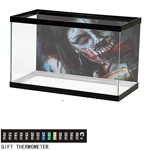 (Jinguizi ZombieFish Tank BackdropScary Dead Woman with a Bloody Axe Evil Fantasy Gothic Mystery Halloween Picture36 L X 24