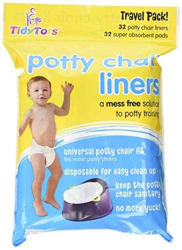 Tidy Tots Disposable Potty Chair Liners - Travel Pack XL - 32 Liners and 32 Super-Absorbent Pads, White ()