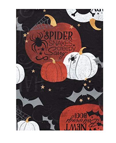 Bountiful Harvest Vinyl Tablecloth Flannel Backed, Spooky Pumpkin Spider Bats Design, (60 Round) ()