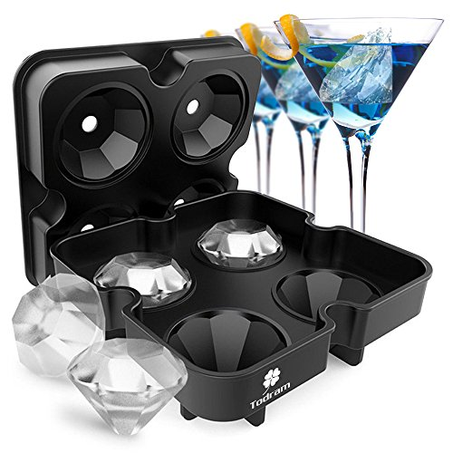 Ice Cube Trays Mold, Todram 3D Diamond-Shaped Flexible Silicone Ice Tray with Spill-Resistant Removable Lid and Funnel for Cocktail Whisky Bourbon Pudding Chocolate BPA Free - Black