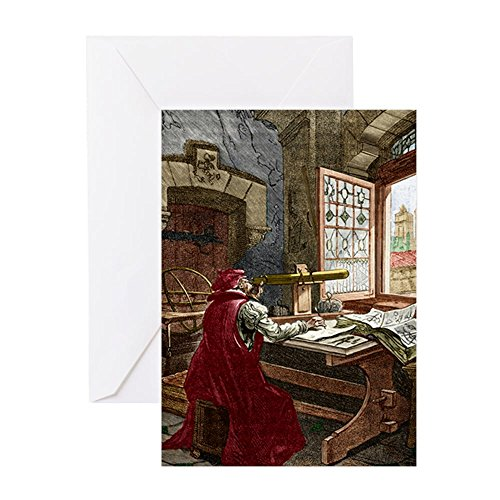 CafePress Galileo Using A Telescope Greeting Card, Note Card, Birthday Card, Blank Inside Glossy