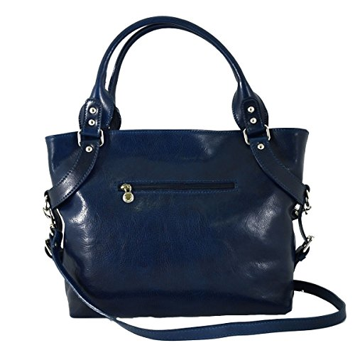 Borsa Donna In Vera Pelle Con Tracolla Rimovibile Colore Blu - Pelletteria Toscana Made In Italy - Borsa Donna