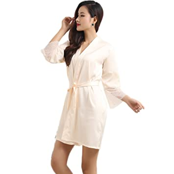XUANLI Mujer Kimono Batas de Cuello V Satín Camisón Color Puro Estilo Corto con Encaje (Beige-Medium): Amazon.es: Hogar