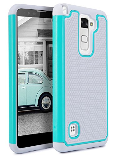 LG Stylus 2 Case, Asstar [Shock Absorption] Drop Protection Hybrid Dual Layer Hard PC Soft Silicone Impact Defender Bumper Case For LG Stylus 2/ LG G Stylo 2/ LG LS775 (Grey+Mint) (Body Stylus Blue)