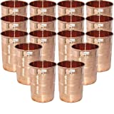 Set of 16 - Prisha India Craft Copper Cup Water Tumbler - Handmade Water Glasses - Traveller's Copper Mug for Ayurveda Benefits - CHRISTMAS GIFT ITEM