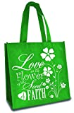 Love is The Flower of Faith Green 12 x 12 Inch Reusable Eco-Friendly Tote Bag Pack of 6