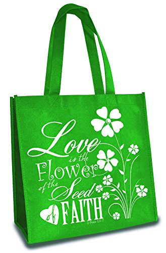 Love is The Flower of Faith Green 12 x 12 Inch Reusable Eco-Friendly Tote Bag Pack of 6 by Divinity Boutique