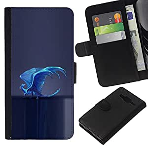 All Phone Most Case / Oferta Especial Cáscara Funda de cuero Monedero Cubierta de proteccion Caso / Wallet Case for Samsung Galaxy Core Prime // Dragon Blue Magical Art Flying Fairytale