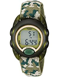 Boys T71912 Time Machines Digital Green Camouflage Elastic Fabric Strap Watch