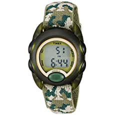 Timex Kids T71912 Green Camouflage Digital Watch with Elastic Fabric Strap