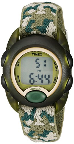 Timex Boys T71912 Time Machines Digital Green Camouflage Elastic Fabric Strap Watch - Helicopter Crystal Set