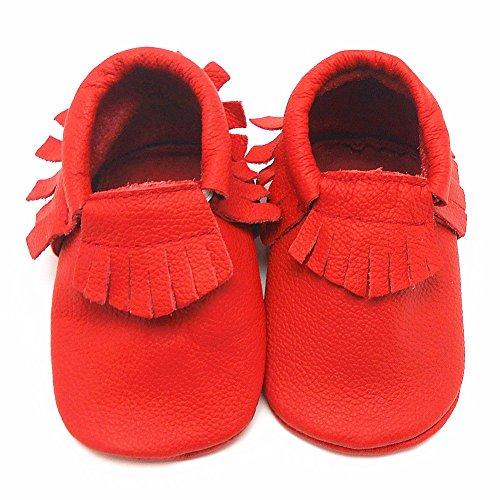 Sayoyo Borlas Suaves Zapatos De Cuero Del Bebé Zapatillas rojo