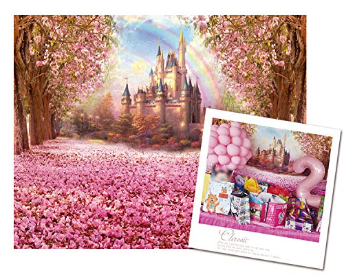 Pink Theme Party Decoration Flower Cherry Blossoms Backdrop Fairytale Princess Castle Backdrop Baby Shower Photo Background for Baby Girl Birthday Party Decoration(7x5) 003 -