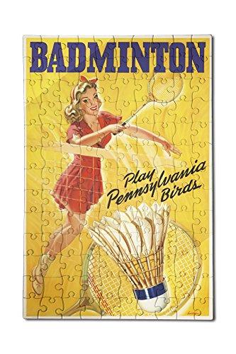 Badminton Vintage Poster (artist: Swischer) USA c. 1946 (12x18 Premium Acrylic Puzzle, 130 Pieces)