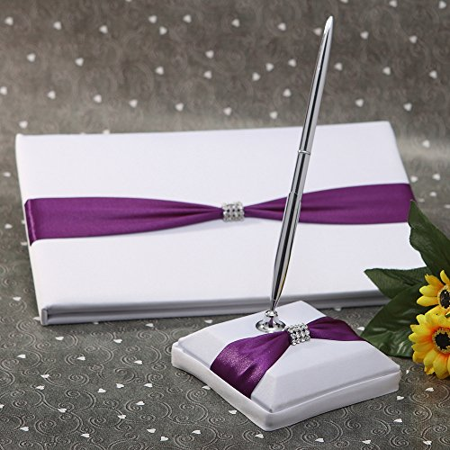 (KateMelon Purple Knot with Rhinestone Wedding Guest Book and Pen)