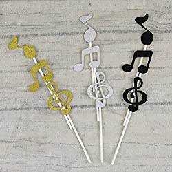 ROSENICE Wedding Cupcake Toppers Black Music Symbols Notes for Birthday Party Decor 6pcs