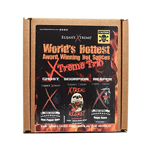 Worlds Hottest Award Winning Hot Sauces Xtreme Trio Includes Ghost Pepper, Scorpion, and Carolina Reaper Sauces (3 5-oz Bottles) (Mega Death Sauce With Liquid Rage Scoville Units)