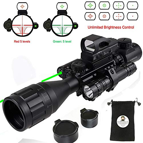 XOPin Rifle Scope Hunting Combo C4-16x50EG Dual Illuminated with Green Laser Sight 4 Holographic Reticle Red/Green Dot for Weaver/Rail Mount (Updated 4-16x50EG Green ()