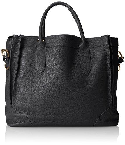 main sac en en la femme sac Italie Nero Élégant Noir 37x30x15 fabriqué cuir Cm de molle tout italien véritable fourre CTM à 5qwvStw