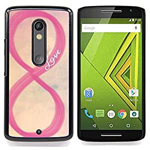 For Motorola Verizon DROID MAXX 2 / Moto X Play - Love Pink Sky Infinity Yellow Romantic /Modelo de la piel protectora de la cubierta del caso/ - Super Marley Shop -