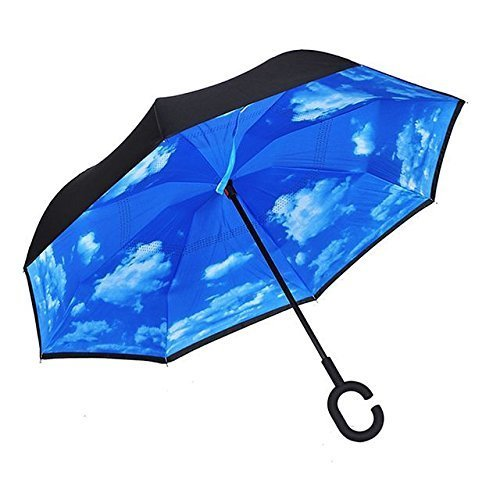 Double-Layer-Wind-ProofUV-Proof-Reverse-Folding-Inverted-Umbrella-Travel-Umbrella-with-C-Shape-Handle-and-Carrying-Bag