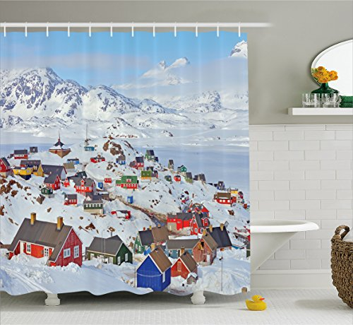 European Shower Curtain by Ambesonne, Snowy Greenland Nor...