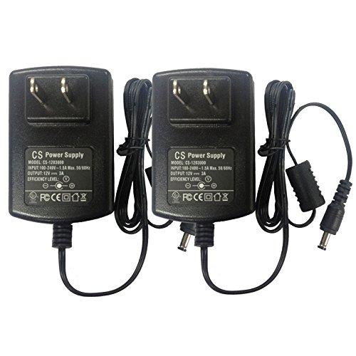 2-Pack AC 100-240V to DC 12V 3A Power Supply Adapter 5.5mm x 2.1mm for CCTV Camera DVR NVR Led Light Strip UL Listed FCC
