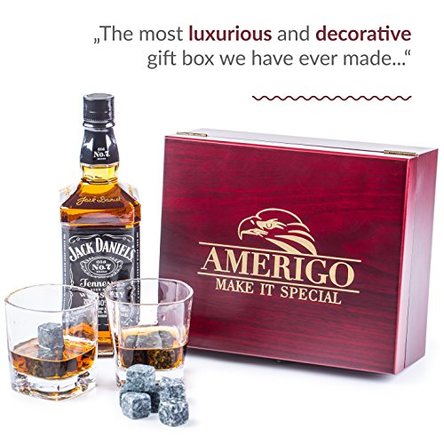 Impressive Whiskey Stones Gift Set with 2 Glasses - Be Different When Choosing a Gift - Luxury Handmade Box with 8 Granite Whiskey Rocks, Ice Tongs & Velvet Bag - Ice Cubes Reusable - Best Man Gift by Amerigo (Image #3)