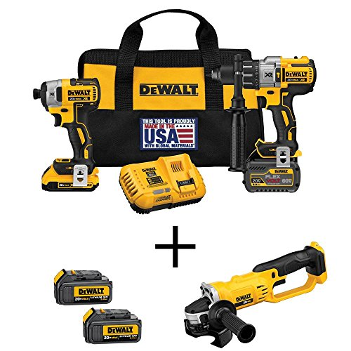 DEWALT Flexvolt 60-Volt and 20-Volt MAX Lithium-Ion Cordless Brushless Combo Kit (2-Tool) with Bonus Grinder and (2) Batteries ()