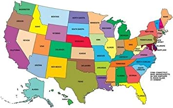 UNITED STATES MAP GLOSSY POSTER PICTURE PHOTO america usa educational cool