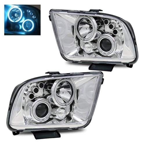 Chrome Mustang Projector (SPPC Projector Headlights Chrome Assembly (CCFL Halo) For Ford Mustang - (Pair) Includes Driver Left and Passenger Right Side Replacement Headlamp)