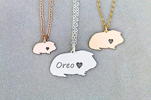 - Guinea Pig Necklace - IBD - Personalize with Name or Date - Choose Chain Length - Pendant Size Options - 935 Sterling Silver 14K Rose Gold Filled - Ships in 1 Business Day