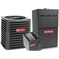 2.5 Ton Goodman 16 SEER R-410A 80% AFUE 80,000 BTU Two-Stage Upflow Gas Furnace Split System