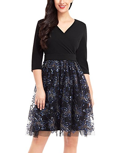 Lookbook Store LookbookStore Women's Black Surplice V Neck 3 4 Sleeve Floral Sequin Tulle Short Cocktail Dress XL(US 16-18)