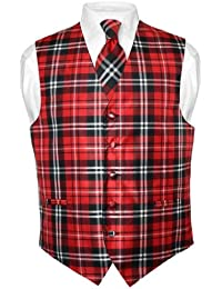 Men's Plaid Design Dress Vest & NeckTie Black Red White Neck Tie Set