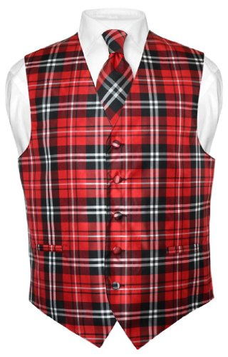 Men's Plaid Design Dress Vest & NeckTie Black Red White Neck Tie Set S -