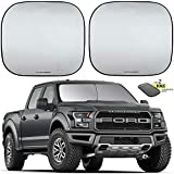 Autoamerics Windshield Sun Shade - Large Size - 2 Pieces of Foldable 33'x36.5' Car Front Window Sunshade - Heat Reflector - Fits Bigger SUV Truck and Van - Blocks Max UV Rays, Keeps Your Vehicle Cool