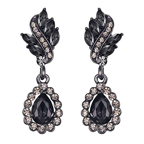 EleQueen Women's Austrian Crystal Art Deco Tear Drop Dangle Earrings Pierced Black-tone ()