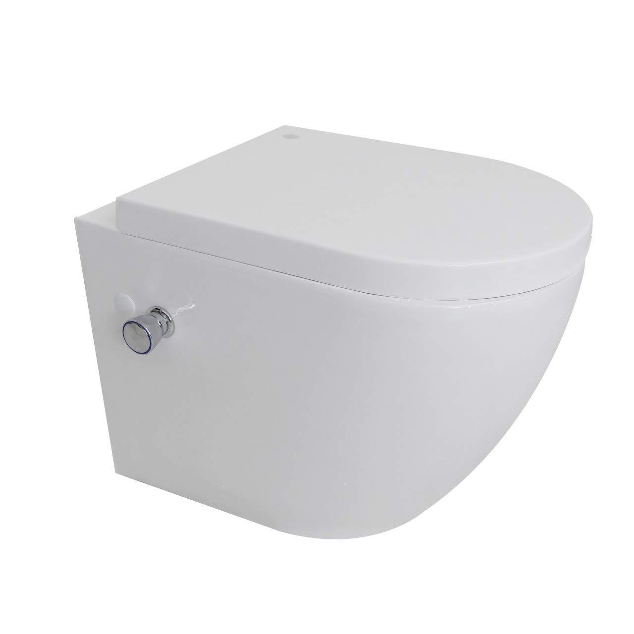 Armatur L//B//H 55 x 36 x 37cm mit Bidet-Funktion Intimdusche homeforyou24 Wand H/änge WC Sp/ülrandlos Taharet Dusch-WC Toilette Softclose inkl