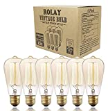 cover of Pack of 6 - Rolay® 60 Watt Edison Style Vintage Filament Decrative Incandescent Light Bulbs - 1 Year 100% Satisfaction