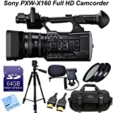 Sony PXW-X160 Full HD Sensor XDCAM Camcorder W/ CS Pro Kit: Includes 64GB SDXC Memory Card, Full Size Aluminum Tripod With Carrying Case, High Definition Filter Kit (UV,CPL,FLD), Boom Microphone, HDMI Cable, Shockproof Carrying Case & CS Microfiber Cleani