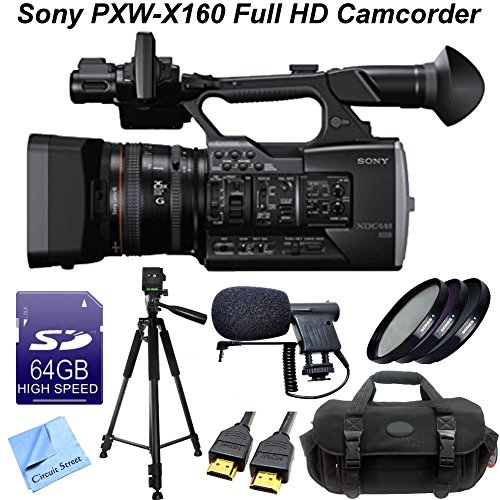 Sony PXW-X160 Full HD Sensor XDCAM Camcorder W/ CS Pro Kit: Includes 64GB SDXC Memory Card, Full Size Aluminum Tripod With Carrying Case, High Definition Filter Kit (UV,CPL,FLD), Boom Microphone, HDMI Cable, Shockproof Carrying Case & CS Microfiber Cleani by Sony