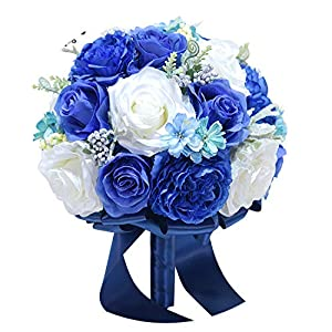 Romance-and-Beautyovia Best Bride Bouquet Artificial Flowers Royal Blue Silk Rose Set Wrist Flower Boutonniere Wedding Bridal Bouquet D42 32