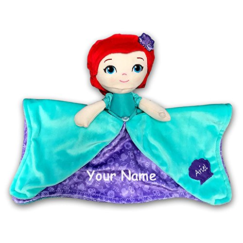 Kids Preferred Personalized Disney The Little Mermaid Princess Ariel Purple and Teal Seashell Dress Baby Snuggler Blanket - 12 Inches