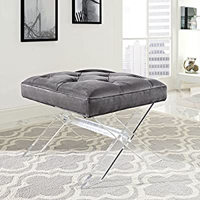 Modway Swift Acrylic X-Base Entryway Modern Bench With Tufted Fabric Upholstery in Gray: Kitchen & Dining